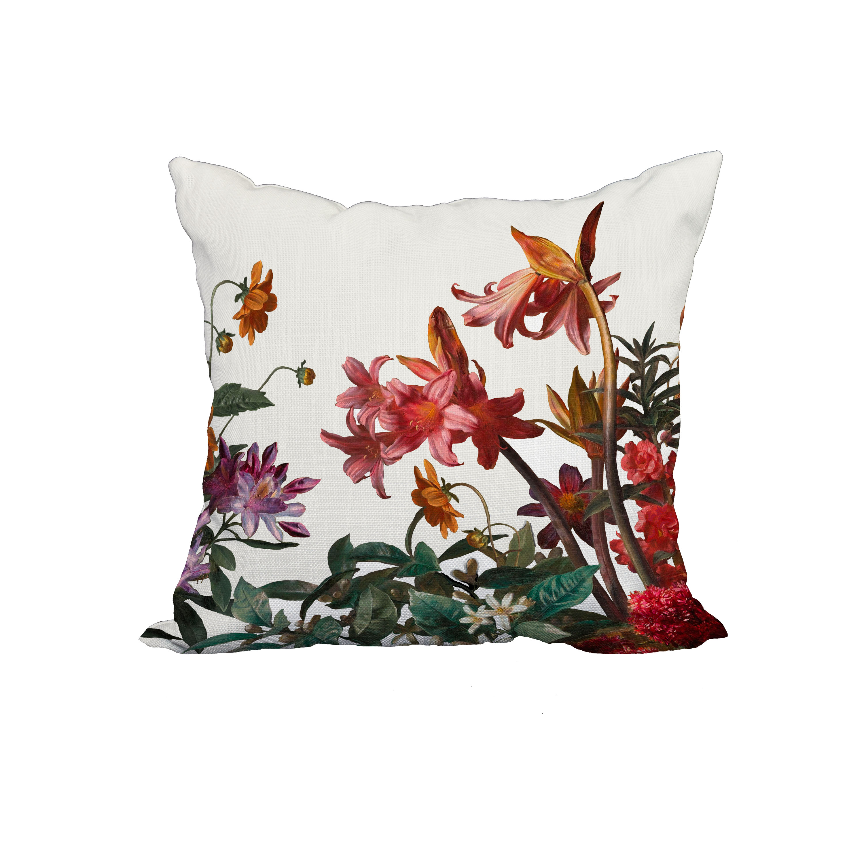 18 Inch Color Me Floral Black Floral Print Decorative Polyester Throw Pillow with Linen Texture