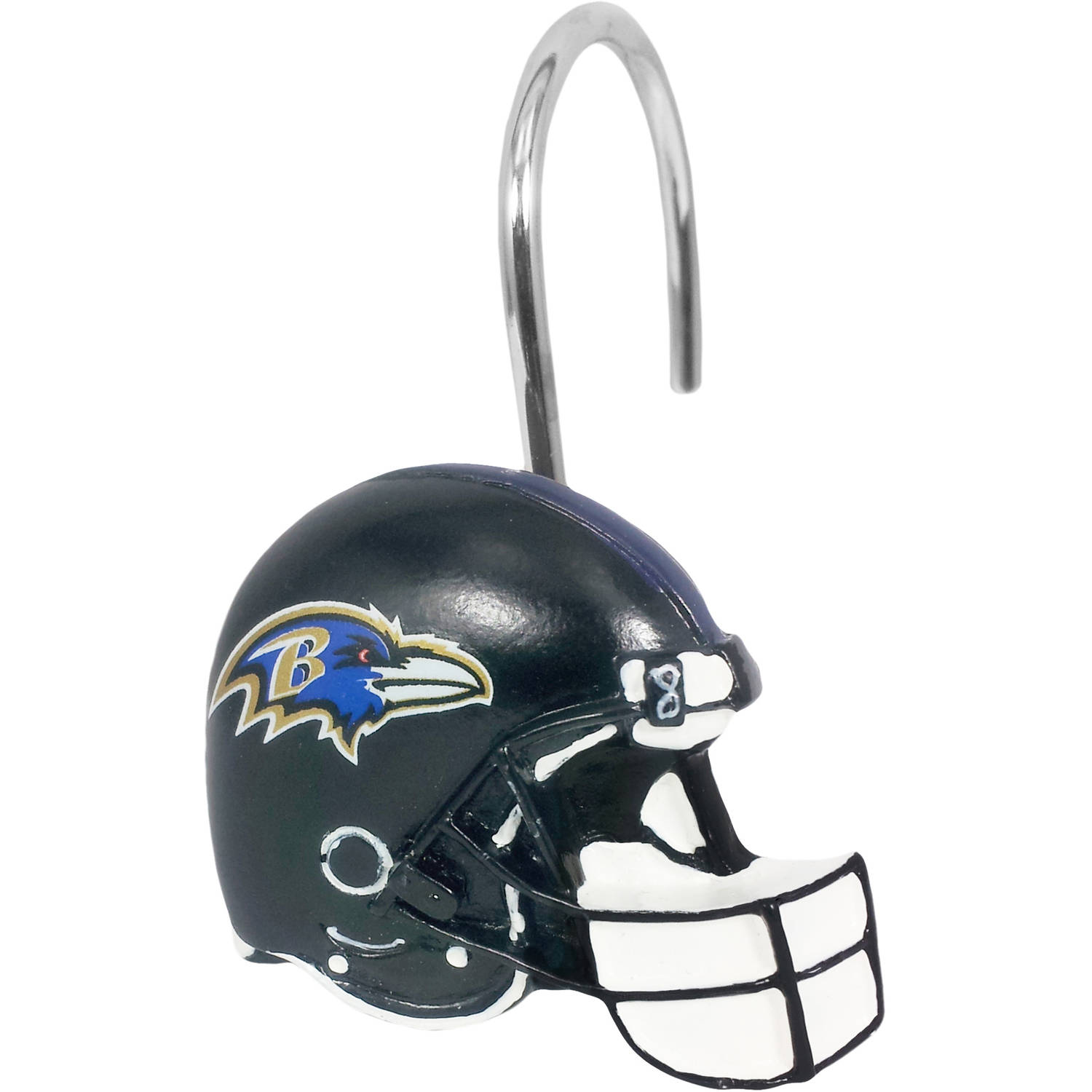 NFL Baltimore Ravens Decorative Bath Collection 12-Pack Shower Hooks