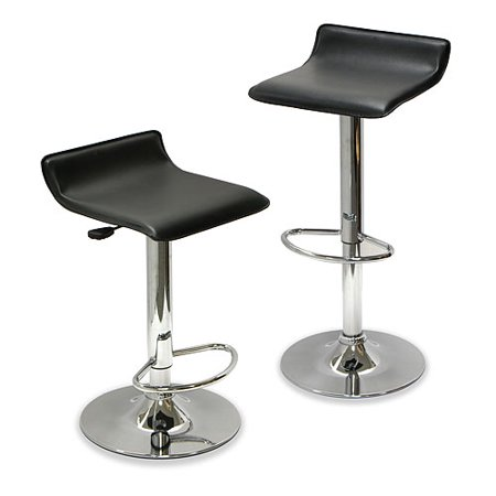 Winsome Wood Spectrum Adjustable Swivel Stools, 2-PC, Black & Chrome