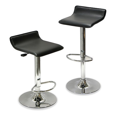 Winsome Wood Spectrum Air Lift Adjustable Stools, Set of 2, Black ...