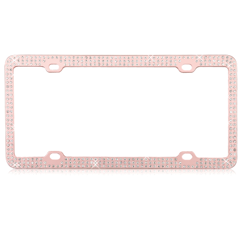 Car accessory for women teen front license plate Beaded Bling License Plate Frame bedazzled plate Red