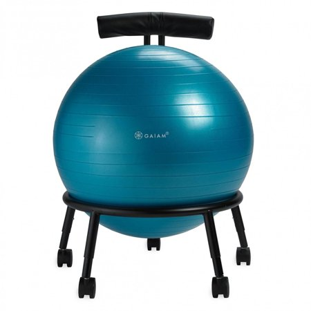 Gaiam Custom-Fit Balance Ball Chair - Exercise Stability Ball Adjustable Desk Chair for Home or Office with 55cm Yoga Ball Air Pump Exercise Guide and Satisfaction Guarantee Blue - image 3 of 7