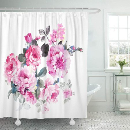 Ink Drawing Sets - PKNMT Watercolor Nature Elegant Flowers The Leaves and Design Painting Blossom Drawing Ink Waterproof Bathroom Shower Curtains Set 66x72 inch