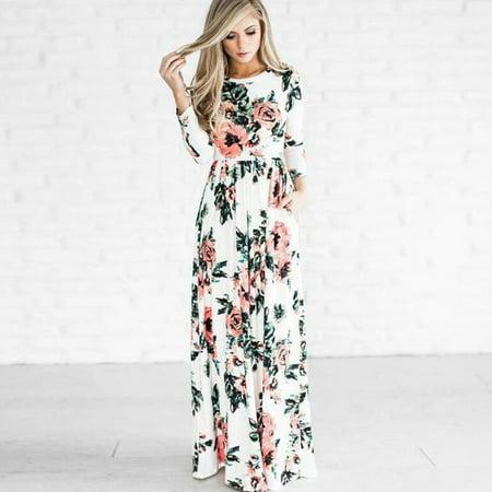 e90465ff6c682 topcobe - Women's Boho Floral Print Long Maxi Dresses, White / Deep ...