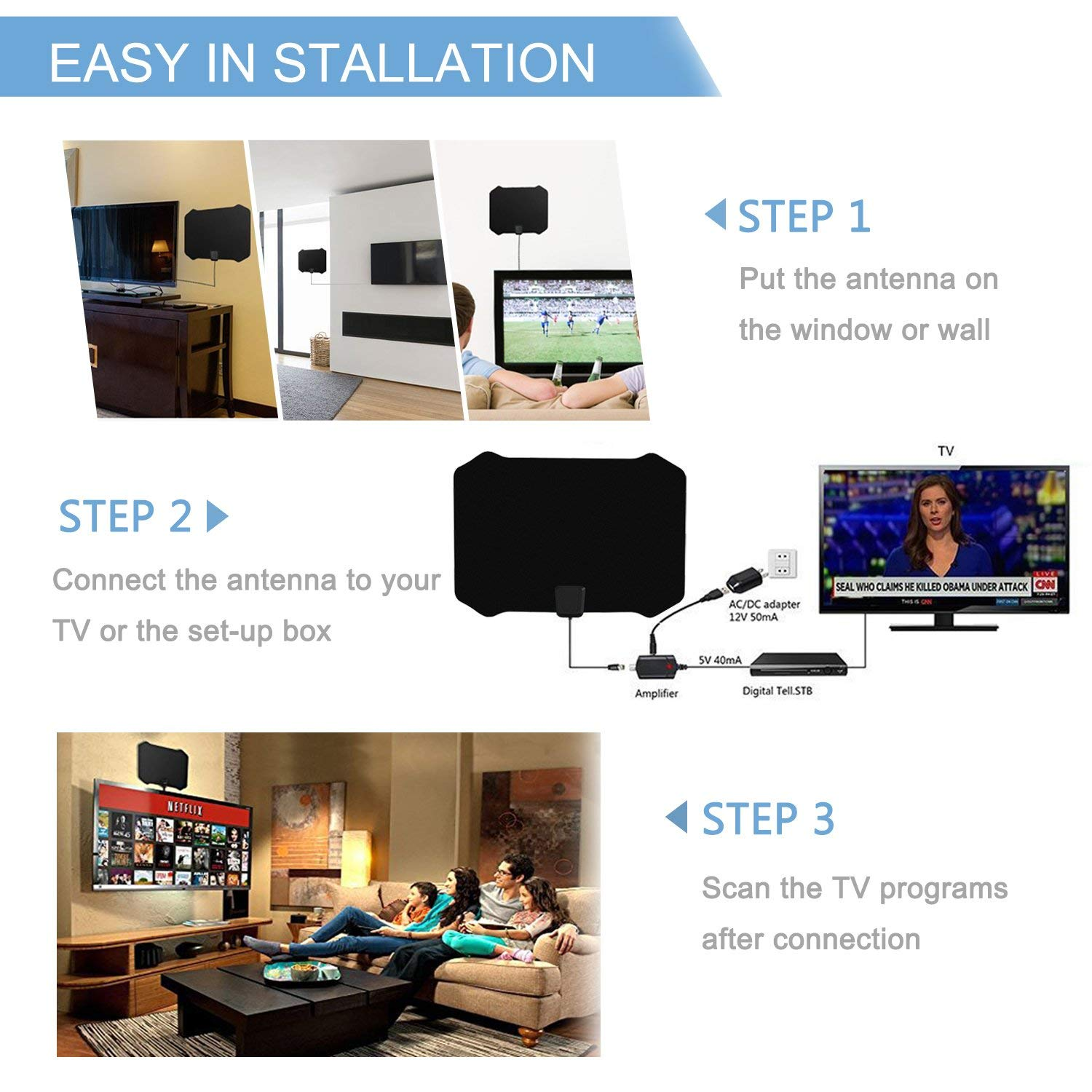 Cshidworld Upgraded Hd Digital Tv Antenna Kit 60 80 Miles Long Ac Home Wiring Range High Definition With Hdtv Amplifier Signal Booster For Indoor Amplified 10ft Coax