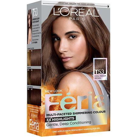 L Oreal Paris Feria Tortoiseshell Browns Permanent Haircolour Gel Cool Medium Brown T53 1 0