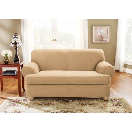 Sure Fit Stretch Suede 2-Piece T-cushion Sofa Slipcover - Walmart.com