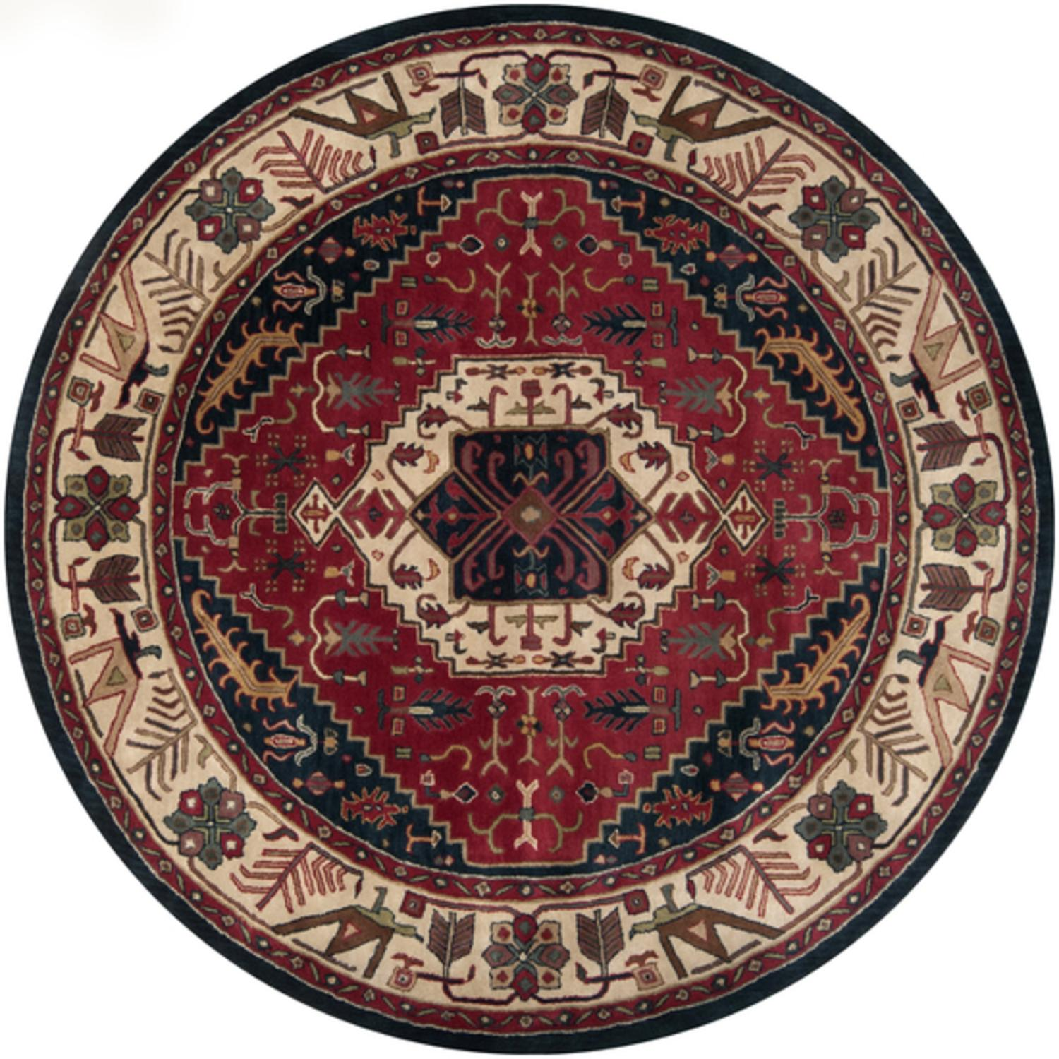 8' Taharqa Egyptian-Style Maroon and Tan Round Wool Area Throw Rug