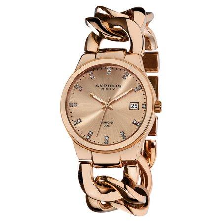 Akribos XXIV Women's Swiss Quartz Diamond Twist Chain Bracelet Rosetone Watch