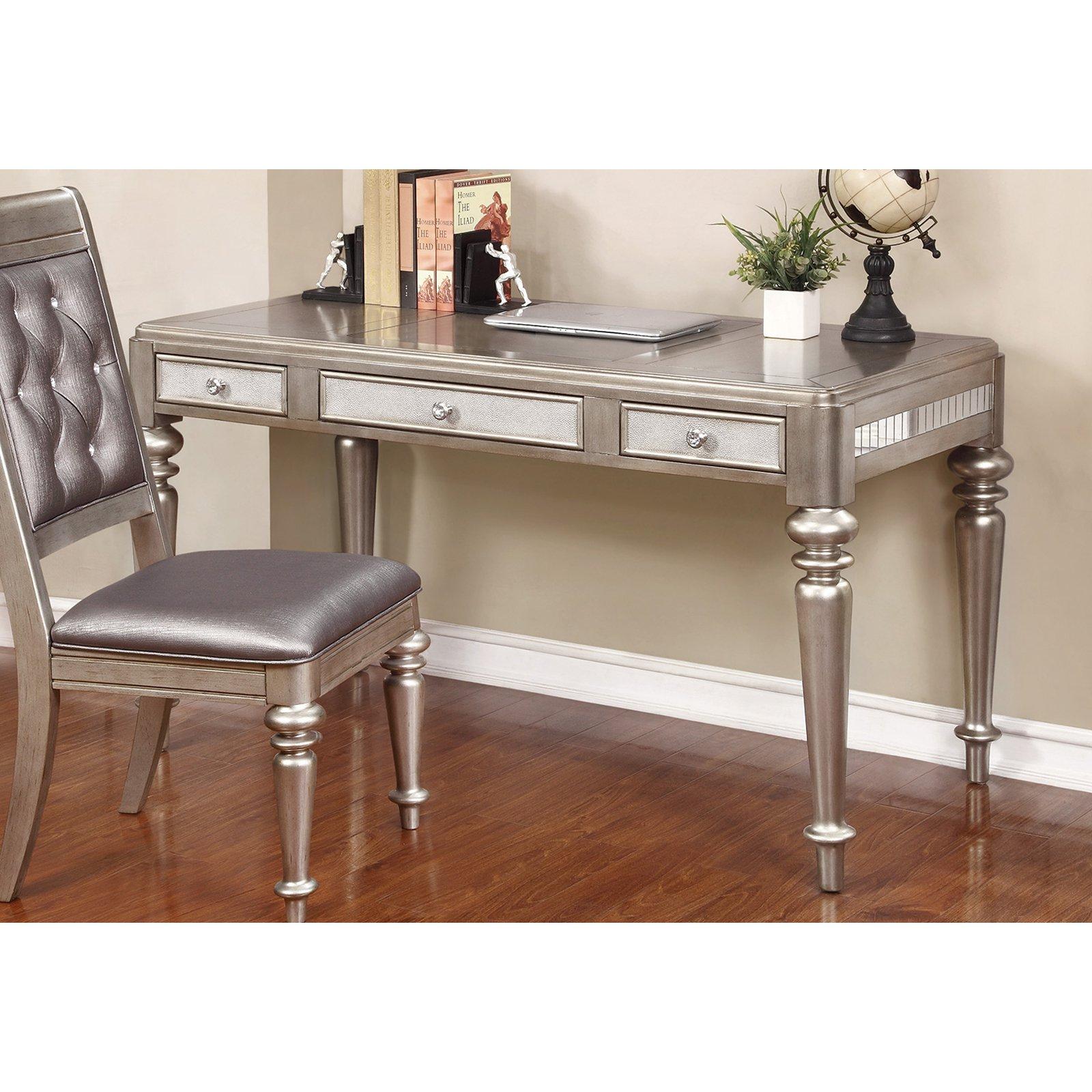 Coaster Writing Desk in Metallic Platinum