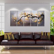 The Lighting Store 'Plum Blossom 315' Hand Painted 5-piece Gallery-wrapped Canvas Art Set