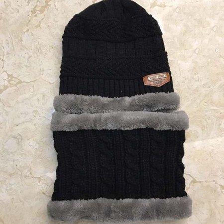 AkoaDa Children s Knit hat bib Two Piece Winter Thickening Plus Velvet
