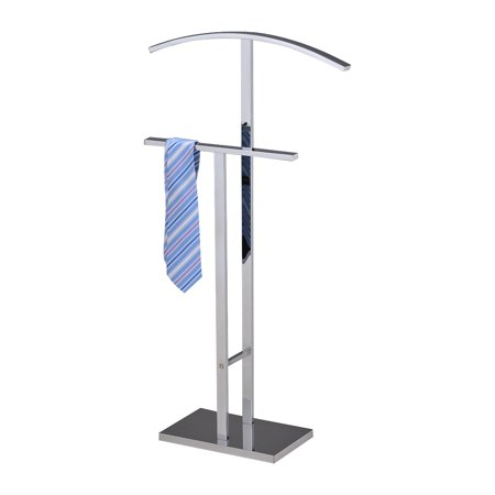 Edison Chrome Metal Modern Cloth, Coat, Suit & Hat Valet Stand Organizer Rack ()
