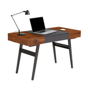 Techni Mobili Writing Desk - Dual Side & Pull-Out Front Drawer - Coated Grey Steel Frame - Mahogany