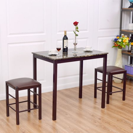 Goplus 3 pcs counter height dining set faux marble table 2 for Kitchen counter set