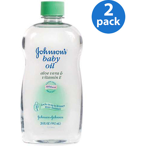 (2 Pack) Johnson's Baby Oil with Aloe Vera & Vitamin E, 20 fl. oz
