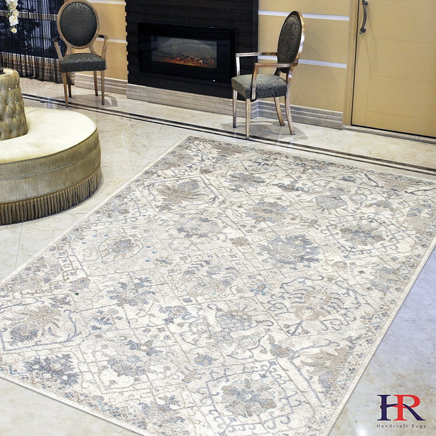 Cream/Gray/Ivory/Beige-Faded, Oriental Distressed - Modern Vintage Design- Abstract, Persian Rug