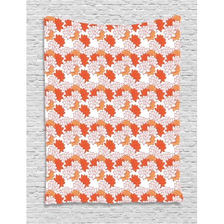 Lotus Flower Tapestry, Abstract Lily Blossoms in Warm Colors Zen Garden Feng Shui, Wall Hanging for Bedroom Living Room Dorm Decor, 40W X 60L Inches, Vermilion Pale Orange and Red, by