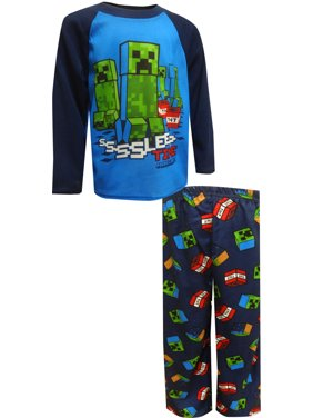 Minecraft Boys' Minecraft Creepers Sleep Time Blue Pajamas