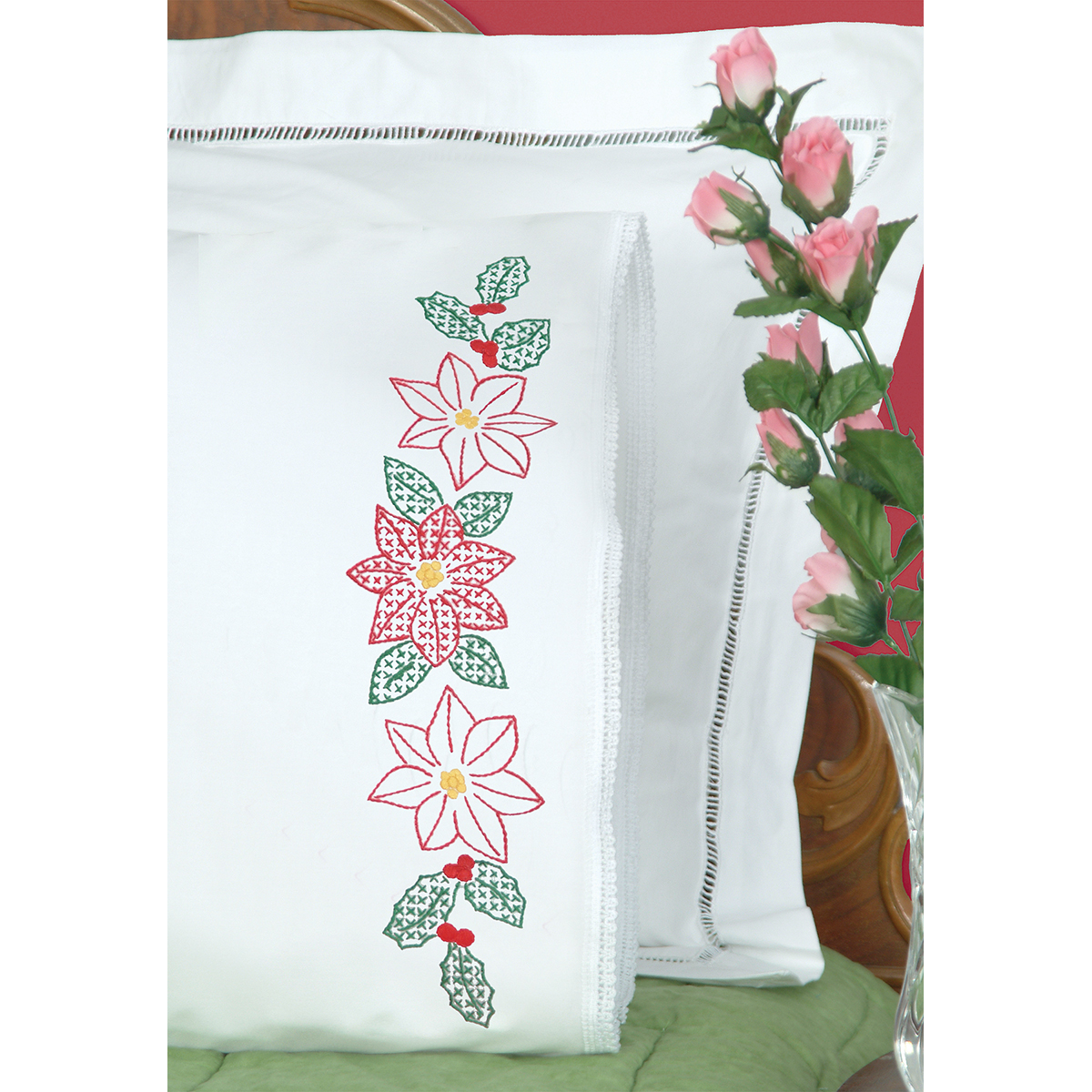 Jack Dempsey Stamped Pillowcases with White Lace Edge, Poinsettias, 2-Pack Multi-Colored
