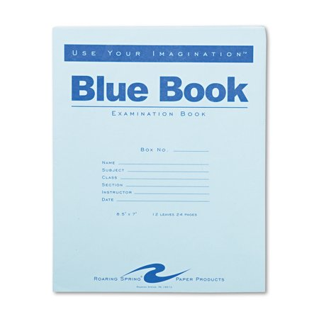 Roaring Spring Exam Blue Book  Legal Rule  8 1 2 X 7  White  12 Sheets 24 Pages Roa77513 Includes One Notebook