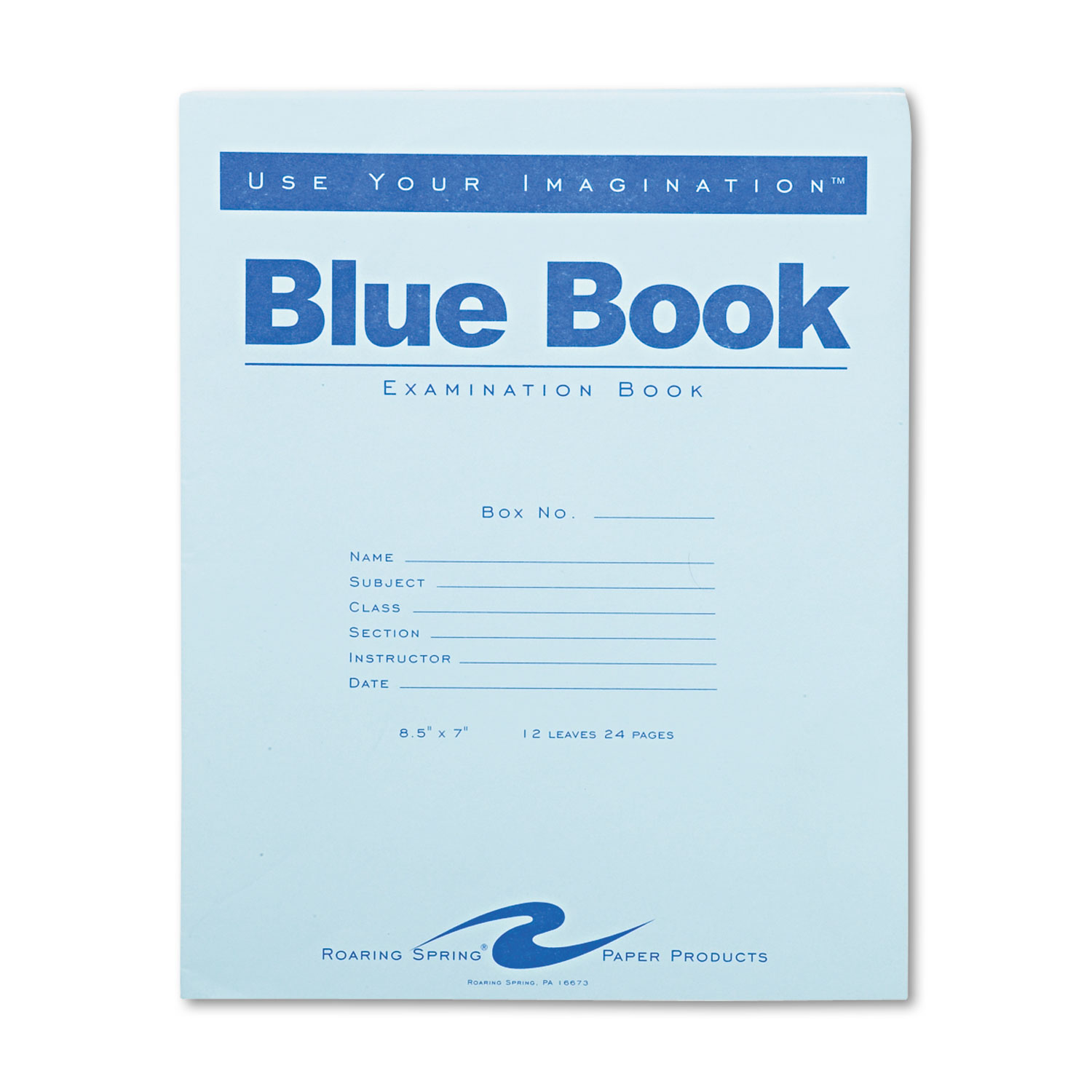 Roaring Spring Exam Blue Book, Legal Rule, 8 1/2 X 7, White, 12 Sheets/24 Pages ROA77513 Includes one notebook.