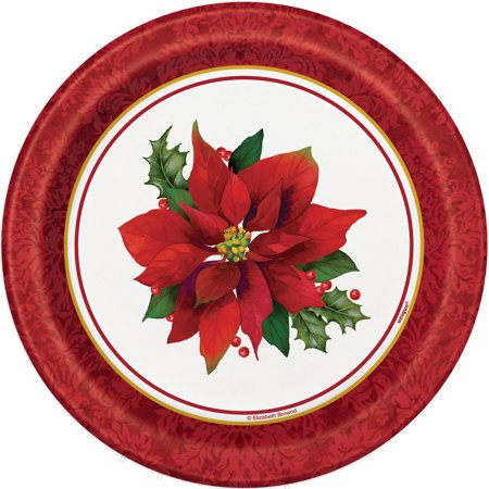 Holly Poinsettia Christmas Paper Plates, 7 in, - Paper Christmas Tableware