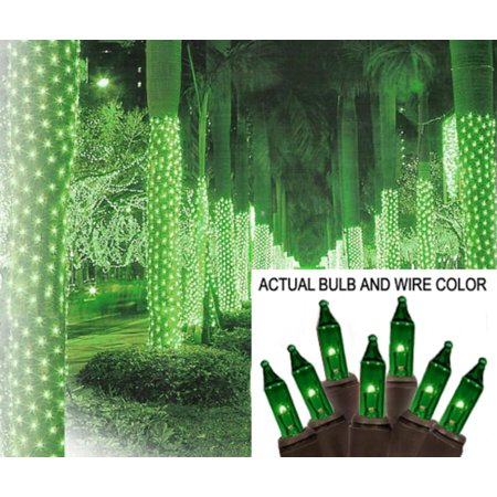 2 X 8 Green Mini Christmas Net Style Tree Trunk Wrap Lights   Brown Wire