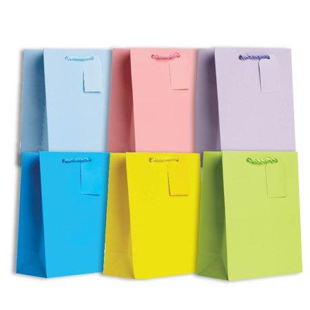Jillson & Roberts Solid Color Matte Medium Gift Bag Assortment, Pastel (6 Bags)