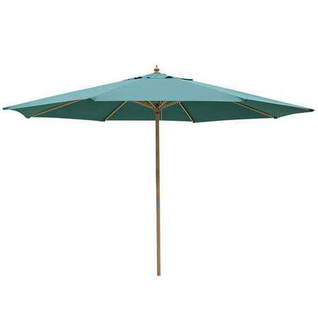 13' XL Outdoor Patio Umbrella w/ German Beech Wood Beach Garden Green