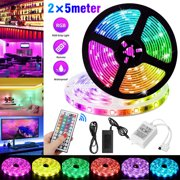 EEEkit 32.8ft 10M LED Strip Lights Kit, 600 LEDs Color Changing RGB Light Strips, IP65 Flexible Light Strip Kit with 44 Key Remote Controller and 12V 2A Power Supply for Indoor Outdoor Home Decor