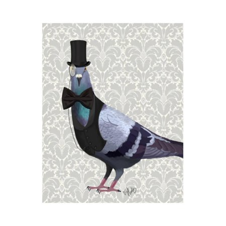 Pigeon in Waistcoat and Top Hat Print Wall Art By Fab Funky