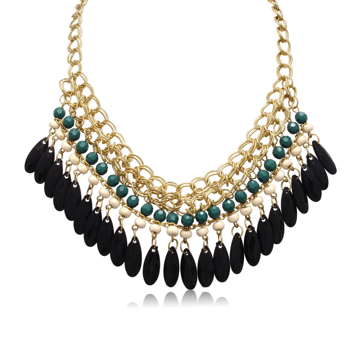 Emerald and Black Onyx Crystal Bib Necklace In Gold Overlay, 16 Inches
