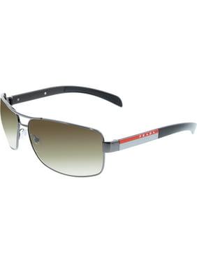 Prada Men's Gradient PS54IS-5AV6S1-65 Gunmetal Rectangle Sunglasses