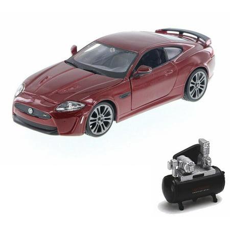 Diecast Car & Air Compressor Package - Jaguar XKR-S, Red - Bburago 24063 - 1/24 Scale Diecast Model Toy Car w/Air (Xkr Models)