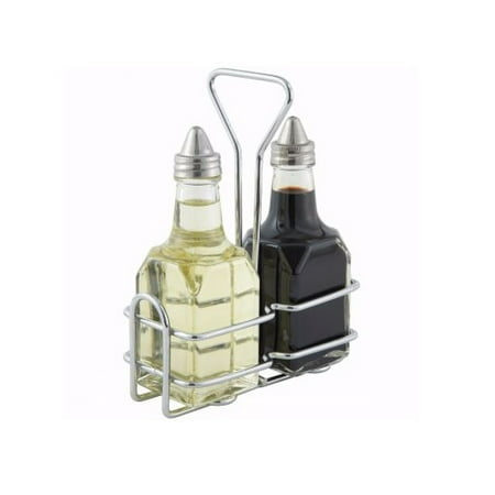 Winco G-104S, Oil and Vinegar Cruet Set with Rack and Two 6 Oz. Bottles (Ceramic Oil And Vinegar Cruet)