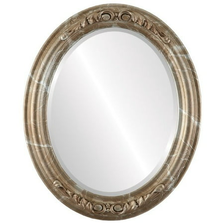 The Oval and Round Mirror Store Florence Framed Oval Mirror in Champagne Silver - Antique Silver - Florence Antique Mall