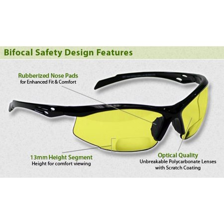 Bifocal Safety Glasses in Polycarbonate Yellow Lens +2.50 (Safety Glasses With Bifocals)