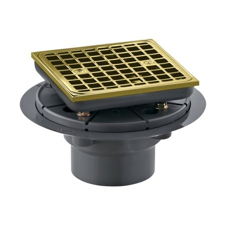 Kohler K 9136 Pb Square Design Tile In Shower Drain  Vibrant Polished Brass