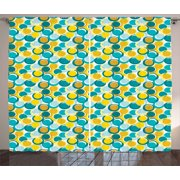 Geometric Curtains 2 Panels Set, Aqua and Earth Tones Nested Circles and Dots Interlacing Shapes repeating Pattern, Window Drapes for Living Room Bedroom, 108W X 90L Inches, Multicolor, by Ambesonne