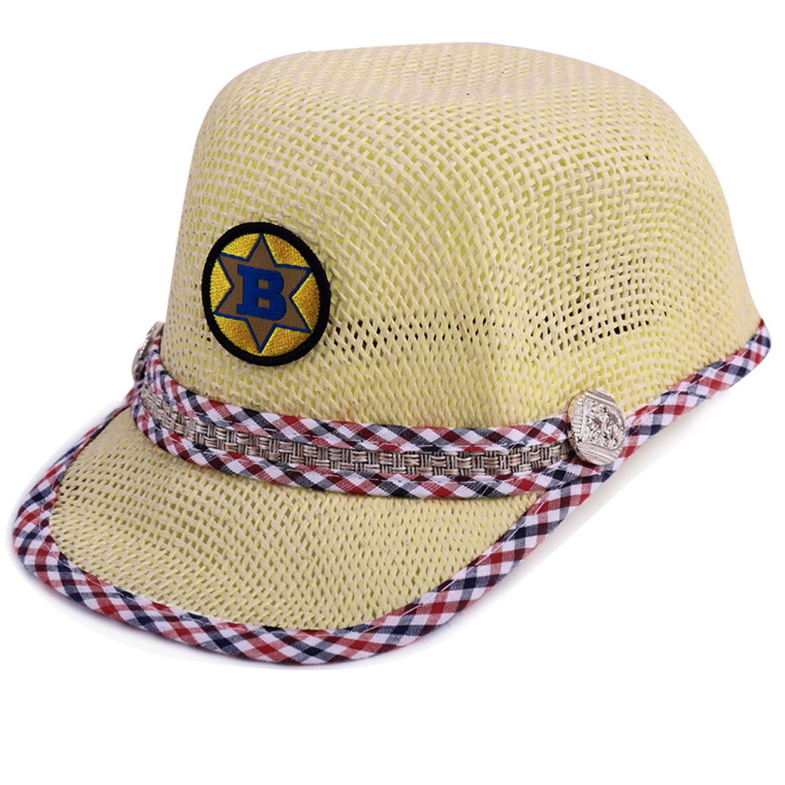 Tasharina Unisex Children Low Crown Stitching Straw Baseball Cap Beige