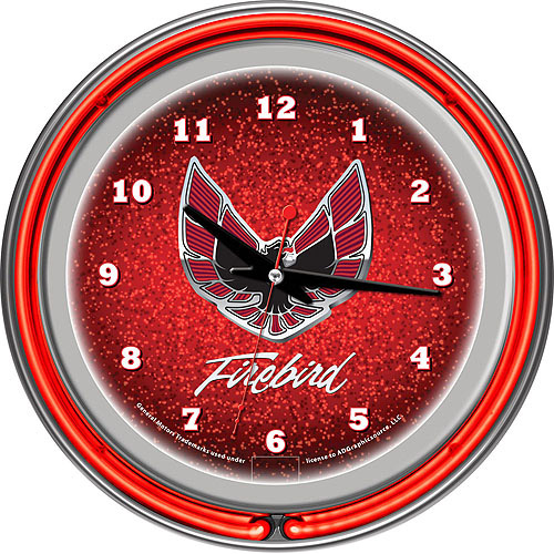 "Pontiac Firebird Red 14"" Neon Wall Clock"