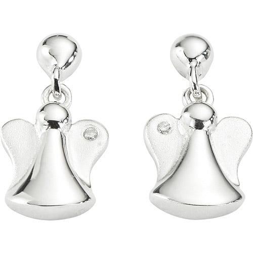 Sweet Treasures Girls' Diamond Accented Angels Sterling Silver Drop Earrings