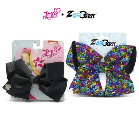 Warp Gadgets Bundle - JoJo Siwa Black Basic Bow and Zoo Beast Signature Collection Giant Sparkly Rainbow All Over Sequin Hair Bow On Alligator Clip (2 Items)