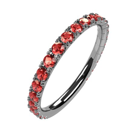 Silver Stackable All Round Birthstone Ring - White Gold - Sz 6 - January