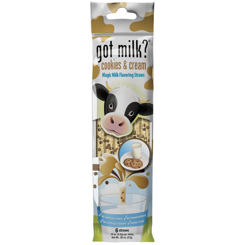 Got Milk? Cookies & Cream Magic Milk Flavoring Straws, 0.16 oz, 6 count