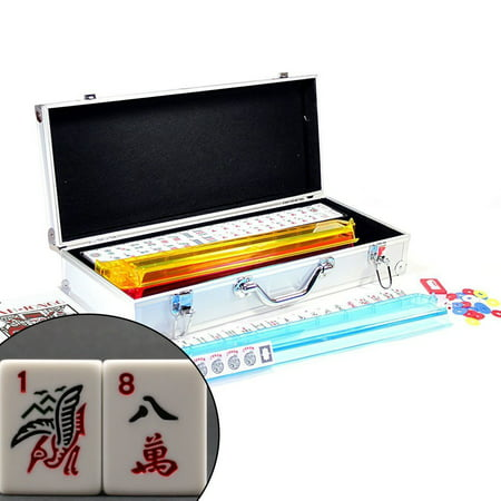 American Mahjong Set with 4 PUSHERS / RACKS COMBO in ALUMINUM CASE (WESTERN Mah jongg 166 Tiles) Mah Jongg Case