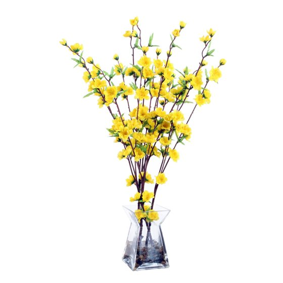 24 artificial yellow blossoming branches flower arrangement in 24 artificial yellow blossoming branches flower arrangement in glass vase walmart mightylinksfo Images