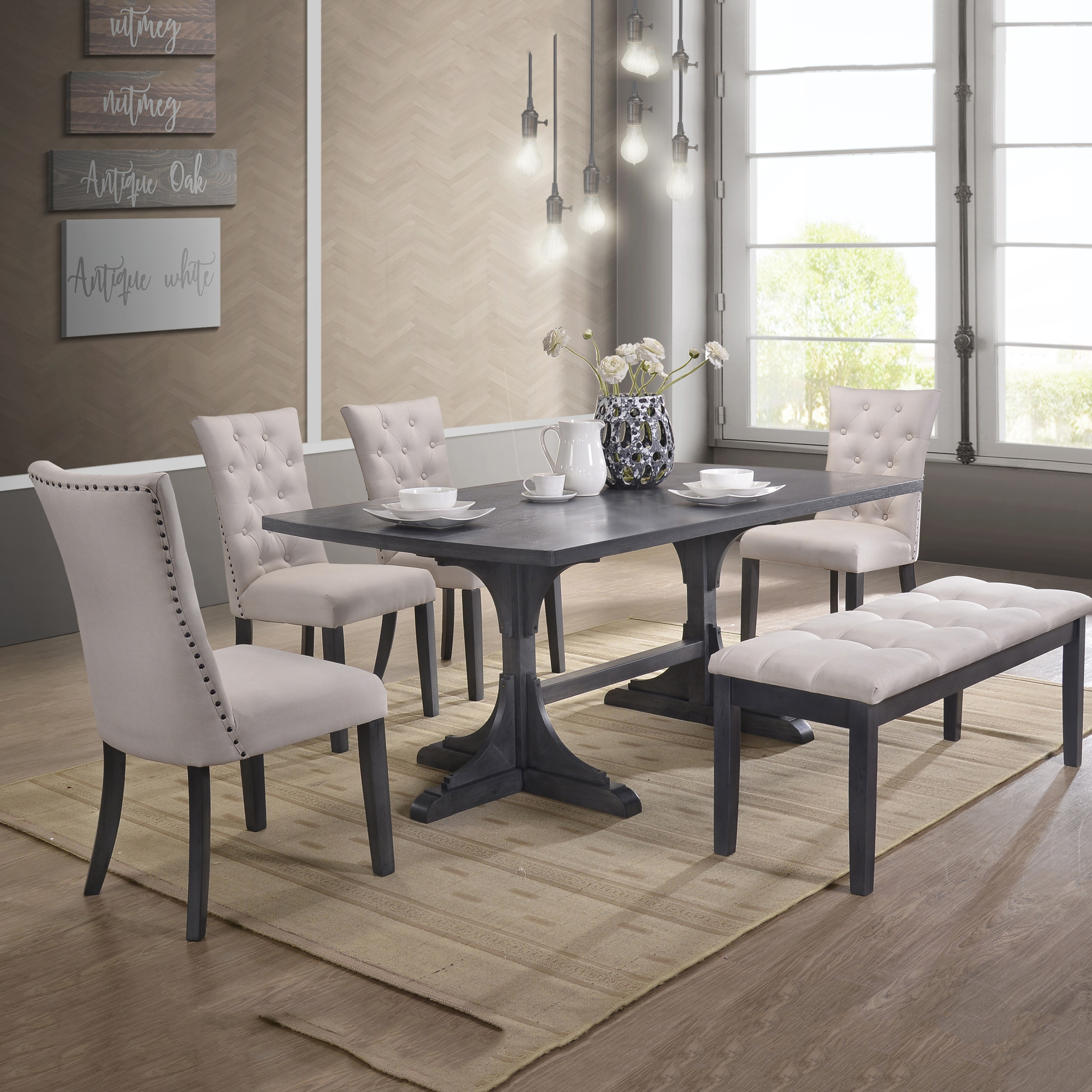 Best Quality Furniture Modern Design 6pc Dining Set with bench D44