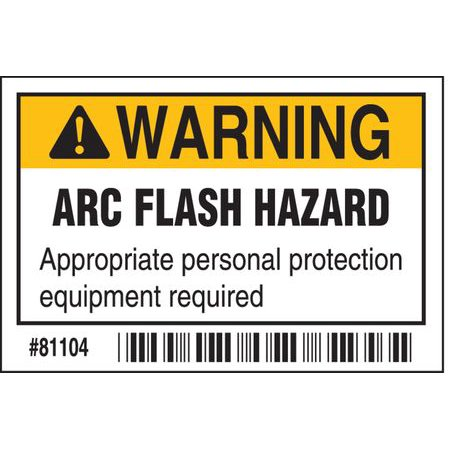 Arc Flash Protection Label,2 In. H,PK100 BRADY 81104